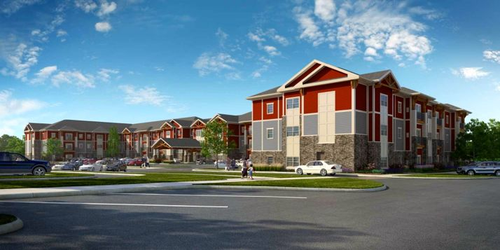 A rendering of the Aspen Village apartments looking east from the retail area of Mission Crossing.