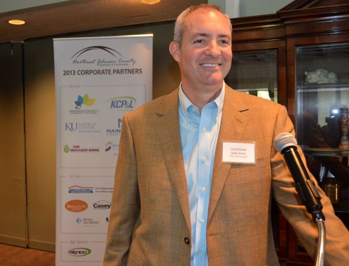 Matt Jones spoke at the Northeast Johnson County Chamber of Commerce luncheon Thursday.