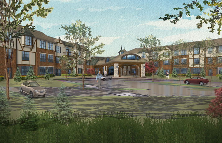 A rendering of the Mission Chateau Independent Living Facility.
