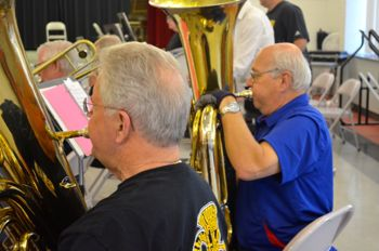 The tuba section at work.