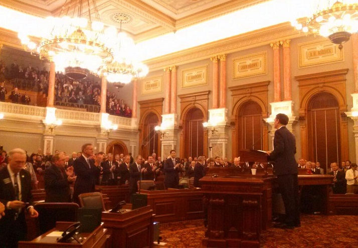 Kansas Gov. Sam Brownback delivered his 2014 State of the State address Wednesday. Photo via @govsambrownback Twitter account.