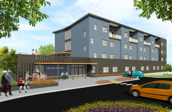 The rendering shows the latest concept for the senior housing project called Herald Corner. The developer held community design meetings to work on the look for the building.