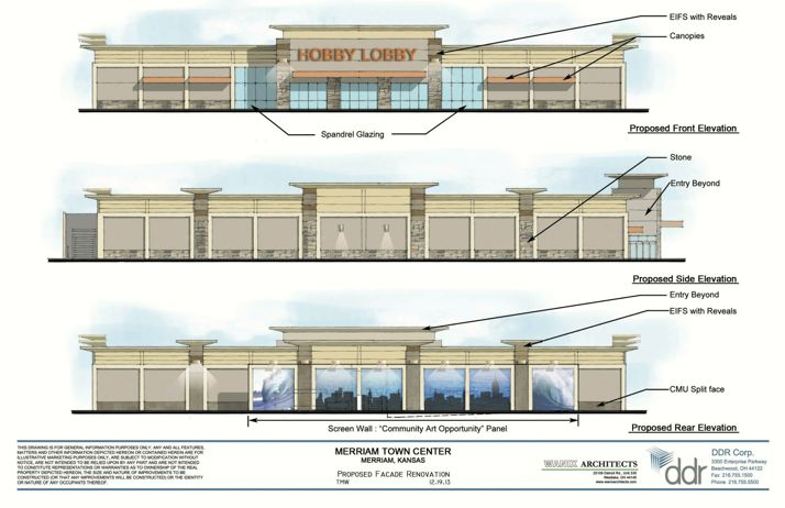A rendering of the new Hobby Lobby store submitted to Merriam.