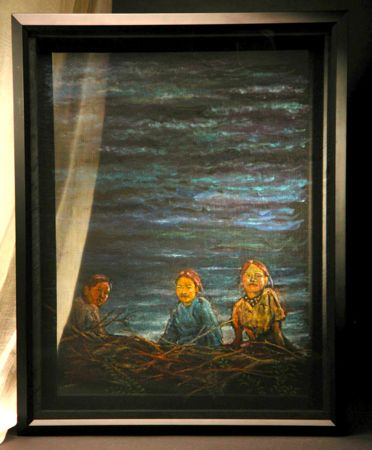 A screen painting of three Nepali girls. An experiment that lets the image show on one side depending on lighting.