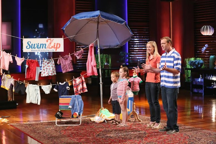 Betsy Johson, second from left, and her brother Barry Wanless make their pitch to the Shark Tank investors Friday on ABC. Photo © ABC/Adam Taylor.