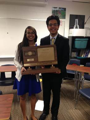 Ali Dastjerdi and Shrushti Mehta with their state title.