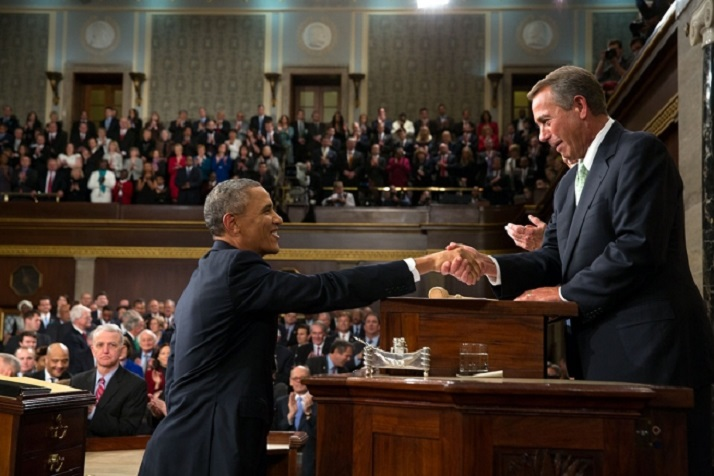 President Barack Obama greets House Speaker John Boehner prior to the 2014 State of the Union address. Official White House photo by Pete Souza.
