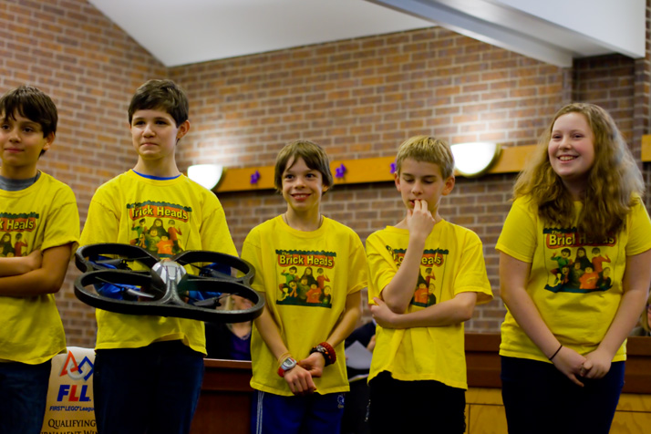 The Brickheads presented their idea for a drone to help in the aftermath of a tornado to the Prairie Village City Council.