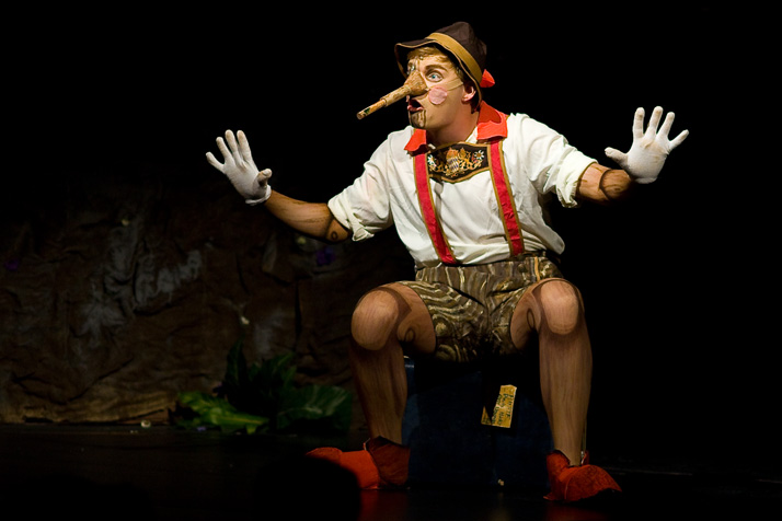 Justin Armer as Pinocchio, complete with growing nose.