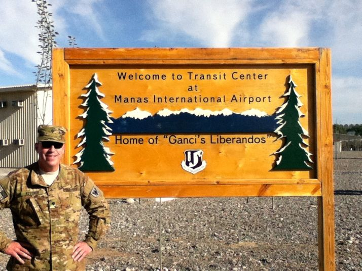 Charlie Kotcher at the base in Manas on his second deployment overseas.