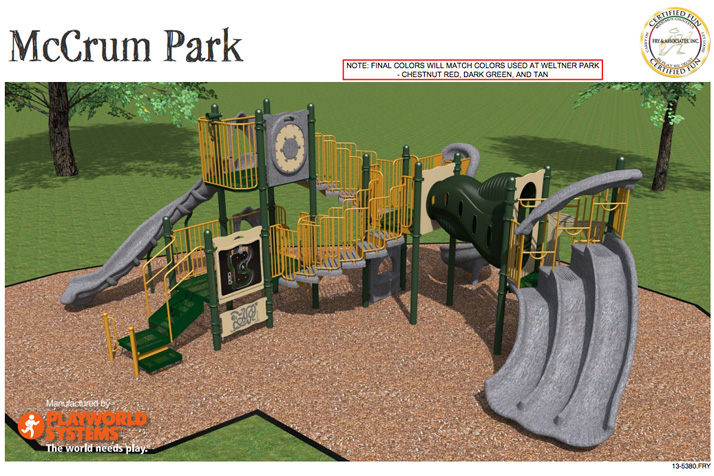 One of two new play structures proposed for McCrum Park in Prairie Village.