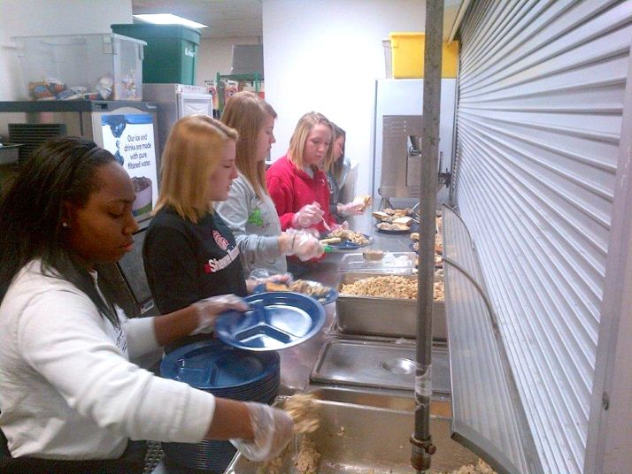 SM North students serve at a homeless shelter in Oklahoma City.
