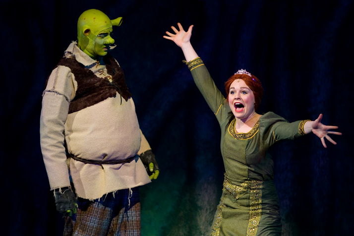 Austin Dagleigh as Shrek and Maddie Roberts as Fiona in one of the opening scenes from this year's SM East musical.