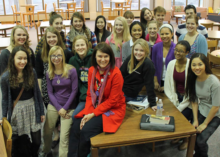 Maria Worthington, center, with some of her students.