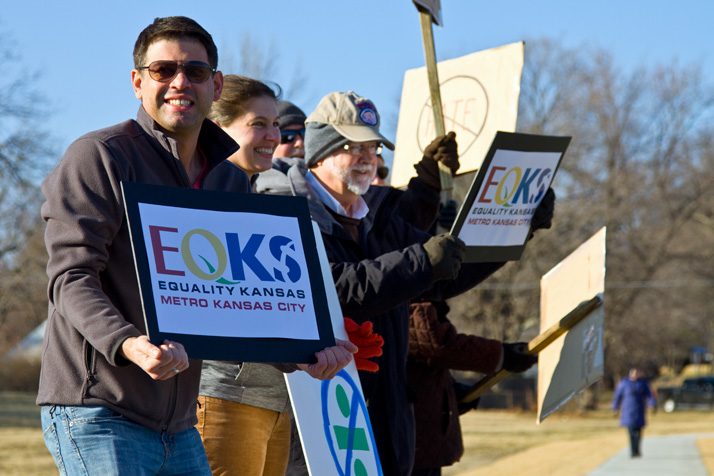 Michael Poppa of Roeland Park helped organize the Equality Kansas demonstration Sunday evening.
