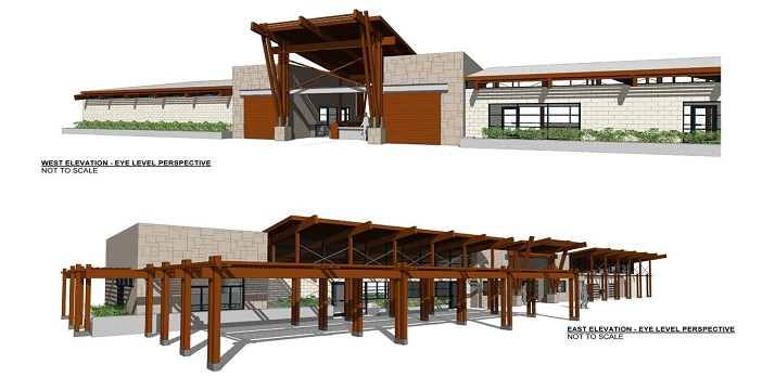 A rendering of the new bath house proposed for the Fairway swimming pool.