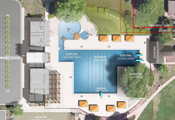 An overhead view of the concept for the revamped Fairway pool.