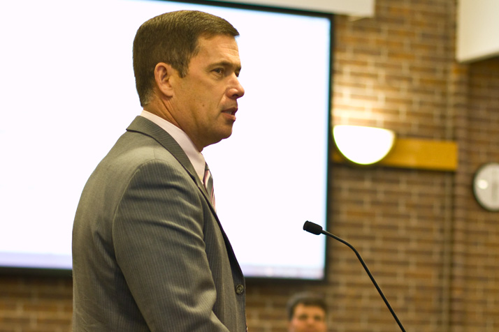 Shawnee Mission Superintendent Jim Hinson told the Prairie Village City Council that SM East's feeder pattern was unlikely to change as suggested in one scenario in a demographer's report.