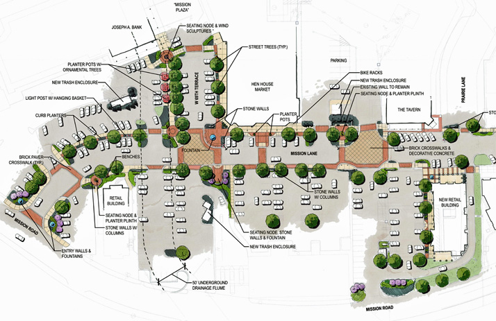 An overhead rendering of the revised Mission Lane renovation plan presented to the Prairie Village Planning Commission.