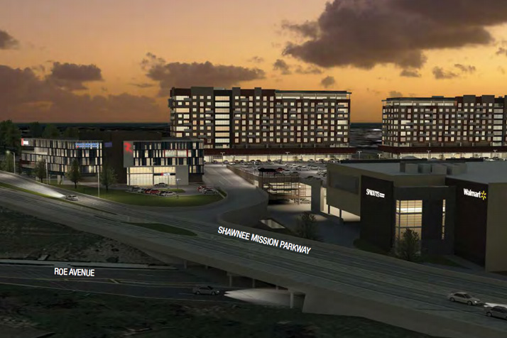 A rendering of the Gateway East development viewed from Shawnee Mission Parkway and Roe that's included in the marketing packet.
