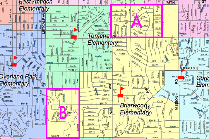 People familiar with the discussions at the Briarwood site council say the district may be considering two areas in the Briarwood feeder pattern for reassignment to Tomahawk Elementary, which are outlined above.