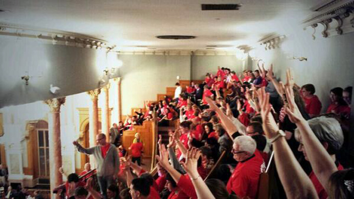 Teachers packed the gallery in the Kansas House late Saturday night to protest a bill that would strip them of some of their tenure rights. Photo via Twitter, Devin Brick Wilson (@ksucats96).