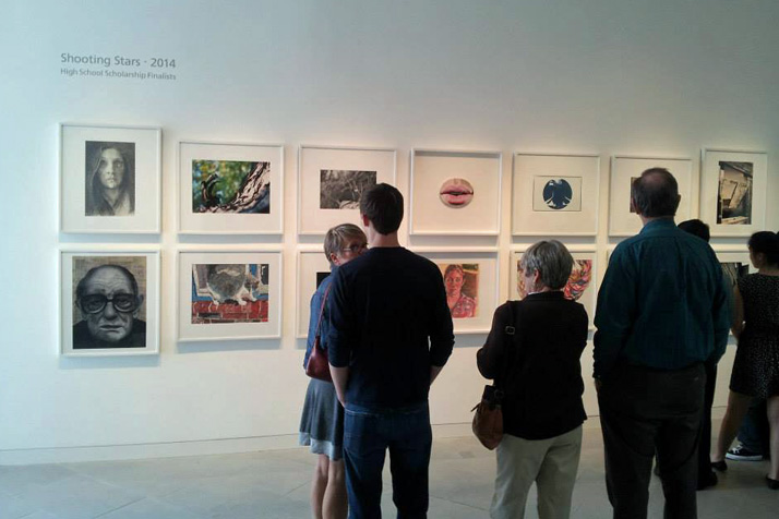 Samples from the Shooting Stars visual arts winners are on display at the Nerman Musuem at Johnson County Community College. Photo via Arts Council Facebook page.