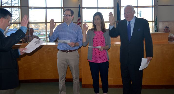 New Westwood City Council members were sworn into office by City Clerk Fred Sherman Thursday. They are (L) Jason Sara Page and Joe Whisler.