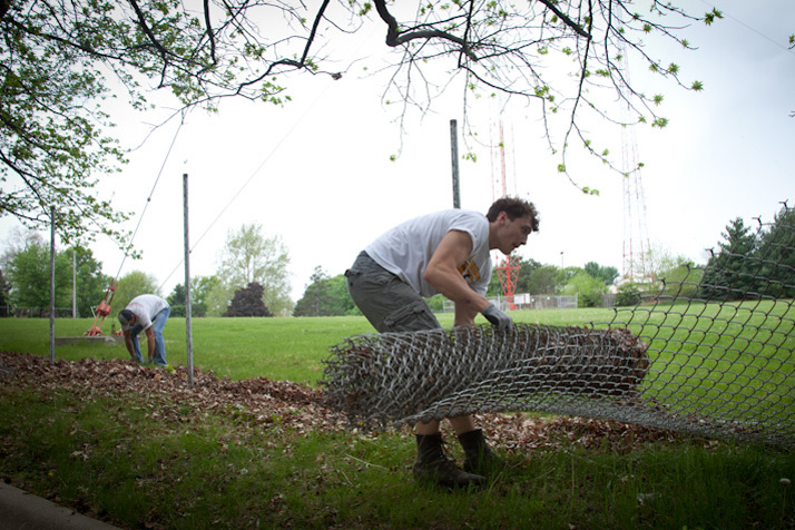 Westwood photographer Sally Morrow snapped this shot of the Entercom fence coming down last week.