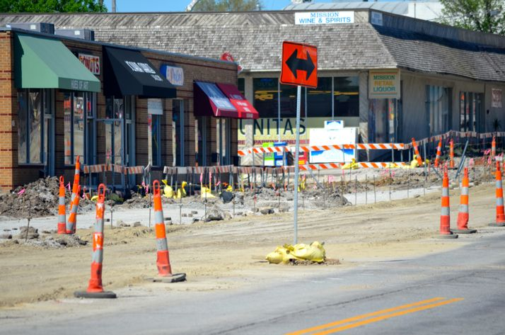It's beginning to look like a street again on the south side of Johnson Drive where grading has begun after storm drains were installed.