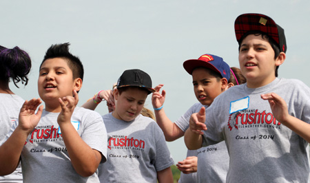 Rushton Elementary students cheer during the annual sixth-grade Olympic Festival. Photo via SMSD.