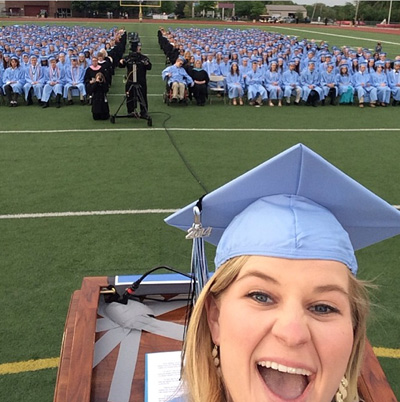 SM East student body president Morgan Twibell's selfie from the podium at graduation Wednesday. The district is putting its telecasts of the graduation ceremonies online.
