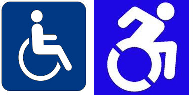 The traditional disabled access symbol (left), and the new symbol Bullers is advocating for (right).