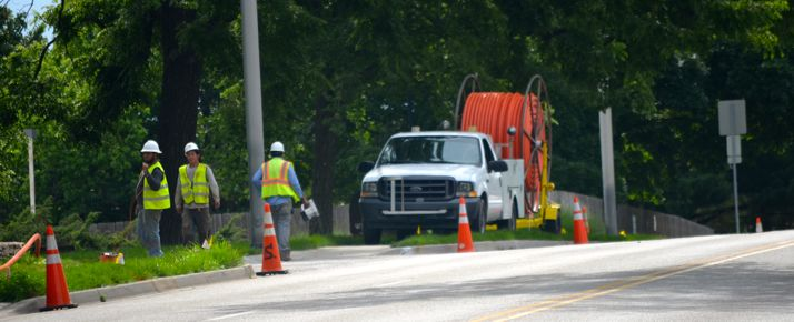 Subcontractors for Google installed fiber along 47th Street in Westwood Tuesday afternoon.