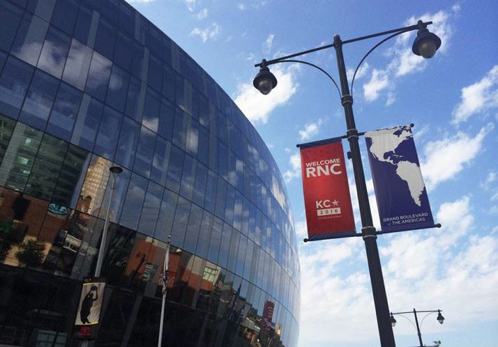Banners welcoming the RNC committee hung outside the Sprint Center Wednesday. Photo via KC RNC 2016 Facebook page.