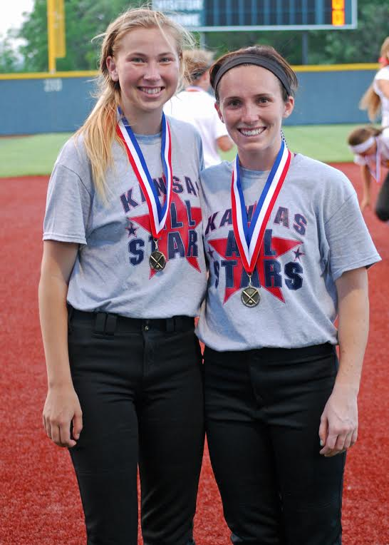 Rowan Turner (left) and Erin McGinely represented SM East in the Mo-Kan All Star Game.