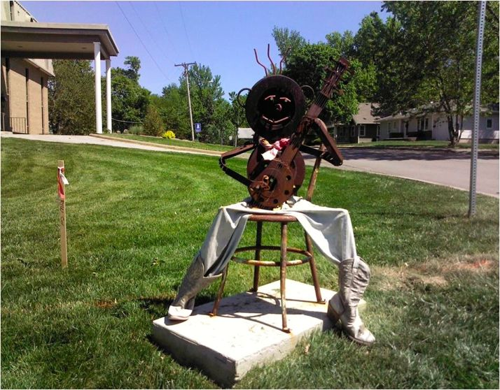 "Artist Bob Stone's ""Banjo Man"" sculpture that sat at city hall in Roeland Park."