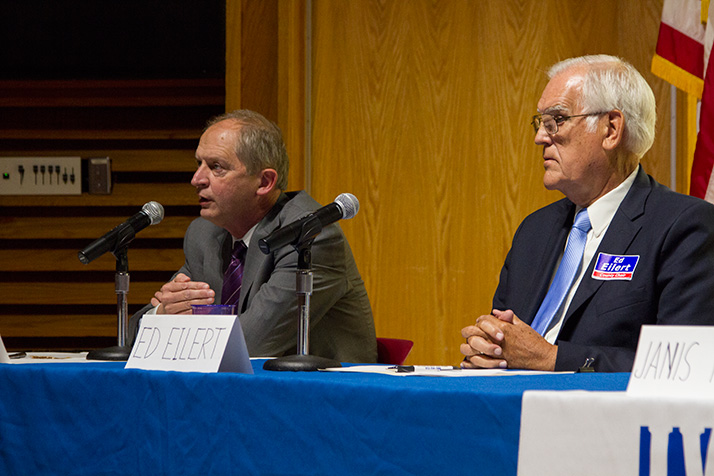 Patricia Lightner was a no-show at the League of Women Voters forum Wednesday, leaving Ed Peterson (left) and Ed Eilert to suss out the differences in their positions on the issues.