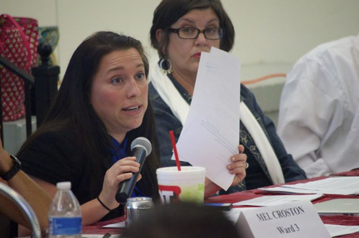 Megan England, one of the councilors who introduced the anti-discrimination ordinance, argues for its passage Monday night.