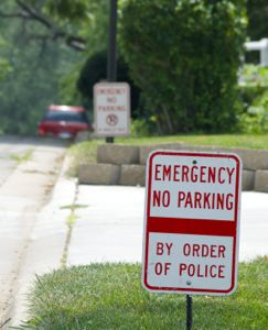 No parking signs have been placed along Canterbury residential property.