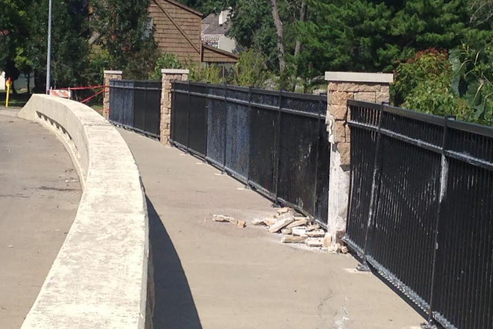 Stonework on the Fairway bridge showed signs of the impact of the car in Wednesday's single-vehicle accident.