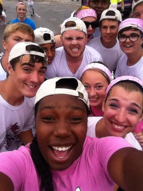 SM North's drumline on Sunday helped add to the festive spirit at the annual Susan G. Komen Race for the Cure. The group took this selfie near the race course.
