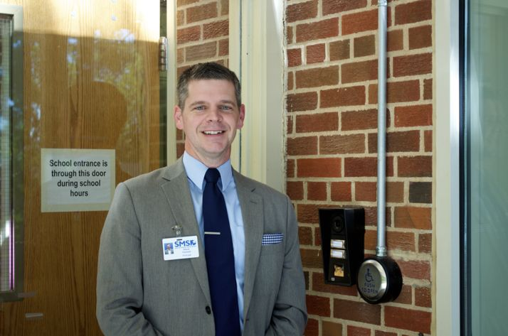 Belinder Principal Steve Yeoman, new to the school this year, at the upgraded entrance where visitors are monitored and must be buzzed in.