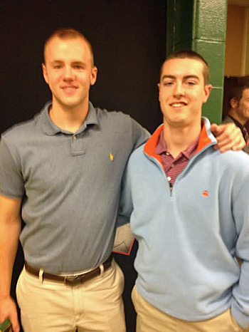 Reunited: Zach Schneider (left) and Vance Wentz on the campus of Northwest Missouri State this week. Submitted photo.