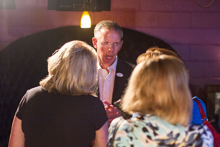 Paul Davis spent part of Tuesday night in northeast Johnson County at the Democrats' watch party in Mission.