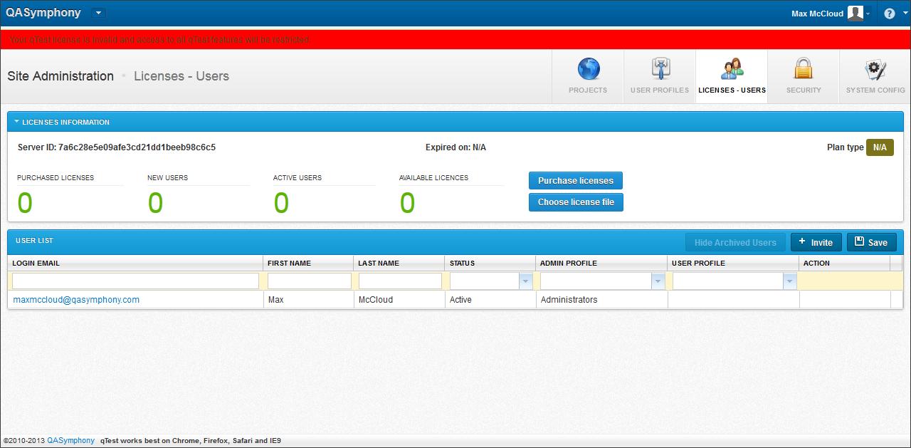 Config qTest - Import Licenses