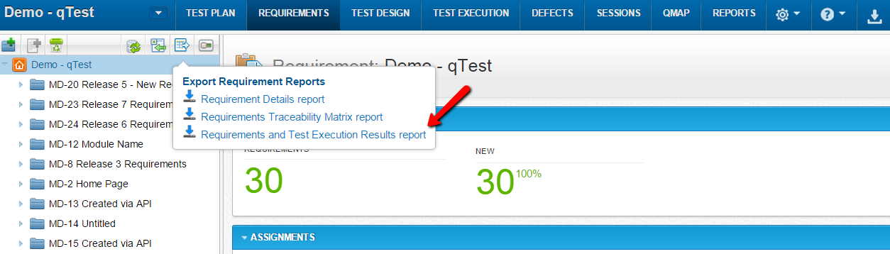 qTest - Requirements - Export - Requirement and Test Execution Results report