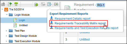 qTest - Requirements - Export - Requirement Traceability Matrix