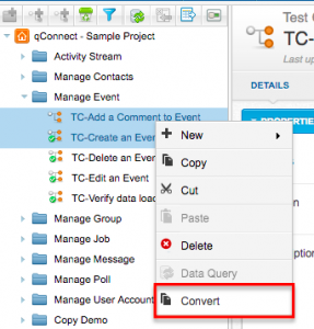 qTest - Test Design - Test Case - Tree - Context Menu - Convert