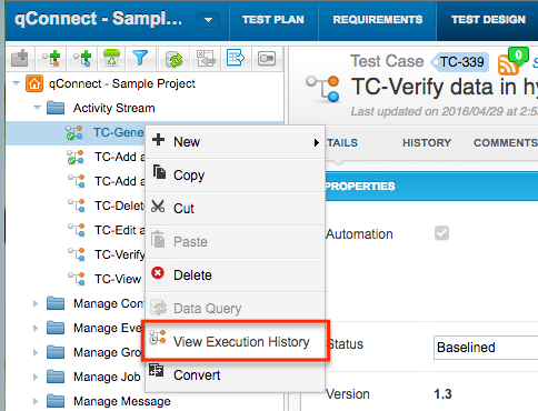 qTest - Test Design - Context Menu - View Execution History